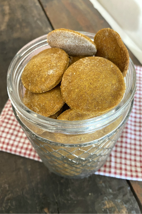 dog biscuits piled in a jar
