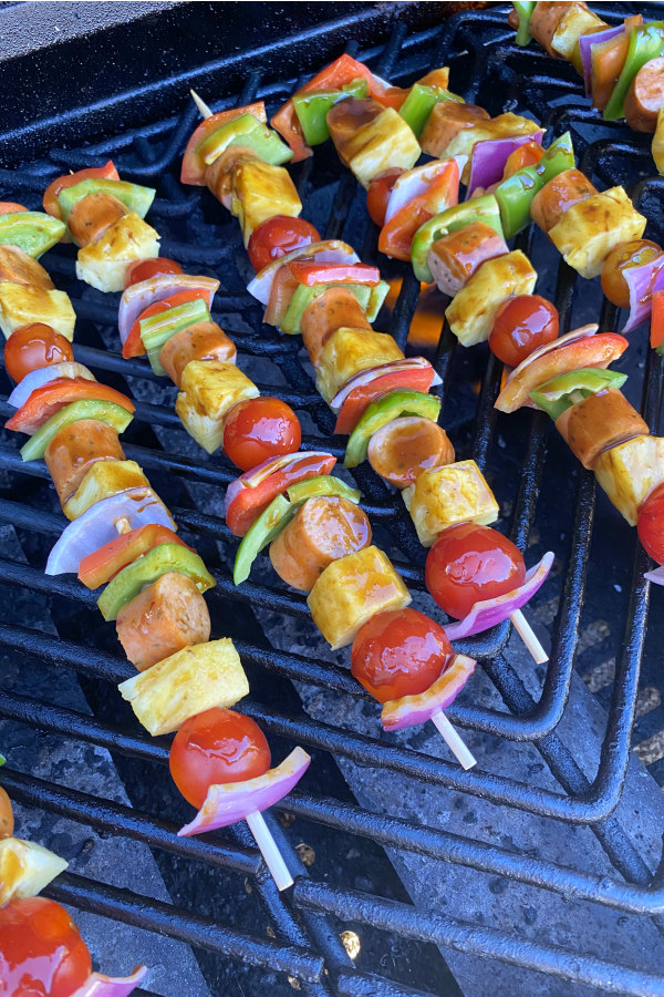 hawaiian chicken sausage kabobs on the grill