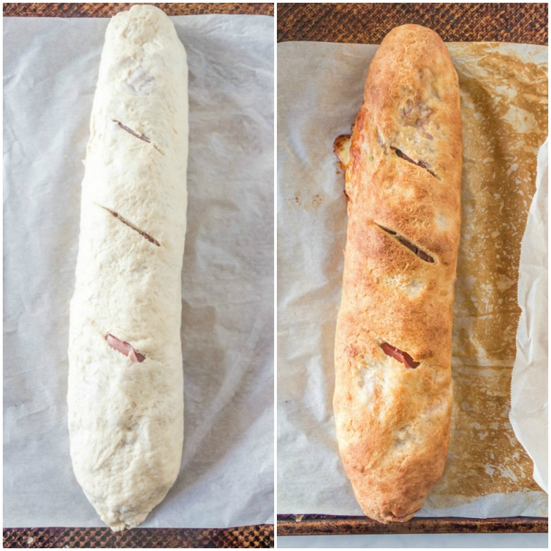 two photos showing loaf of stromboli before and after baking