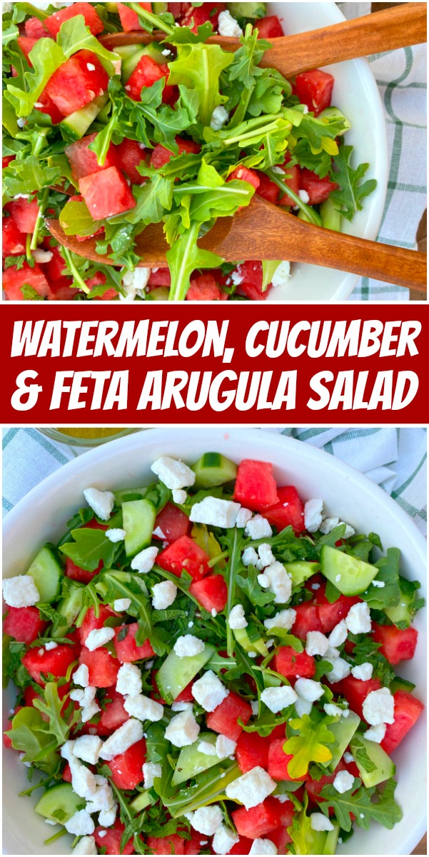 pinterest collage image for watermelon cucumber and feta arugula salad