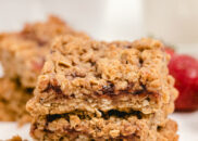 stack of three peanut butter and jelly granola bars