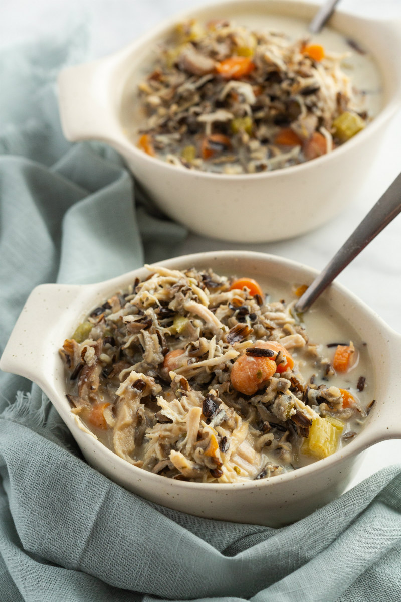 chicken and wild rice soup in a white bowl
