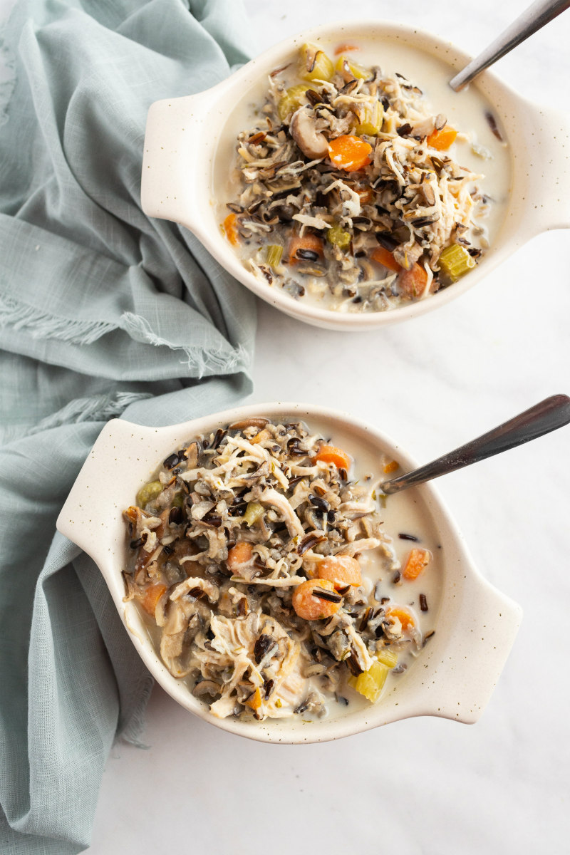 instant pot chicken and wild rice soup in white bowls