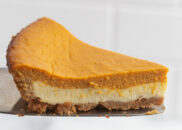 slice of pumpkin cream cheese pie