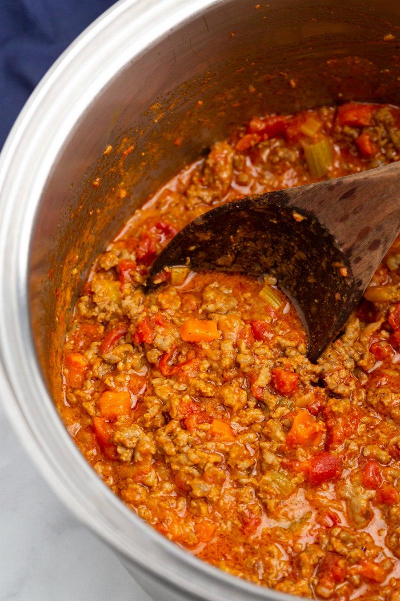 pot of bolognese sauce