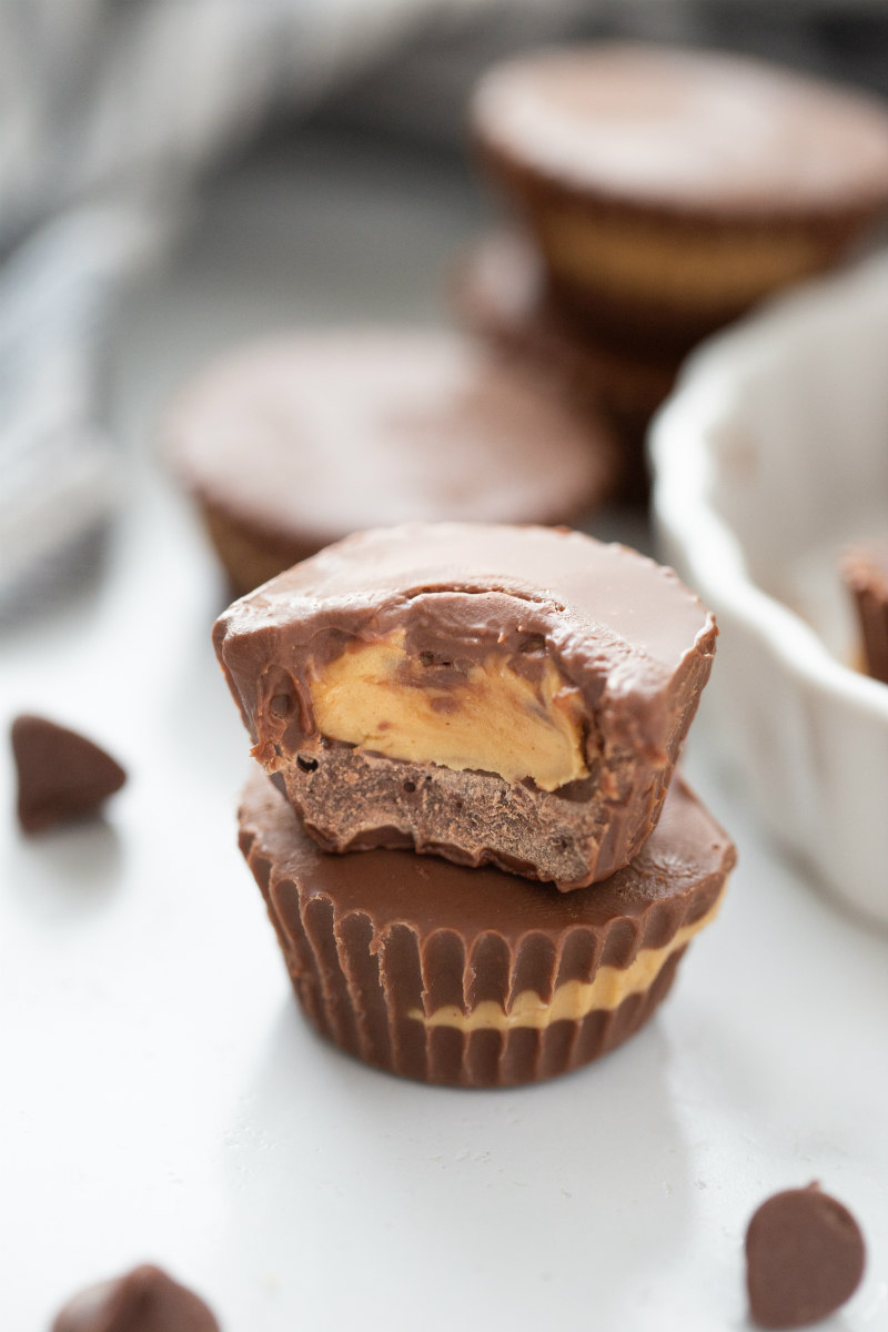 two peanut butter cups stacked