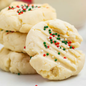 christmas shortbread cookies displayed in a stack