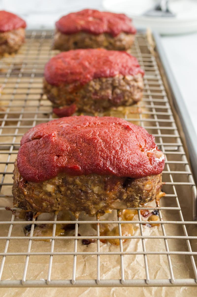 mini meatloaves on baking rack