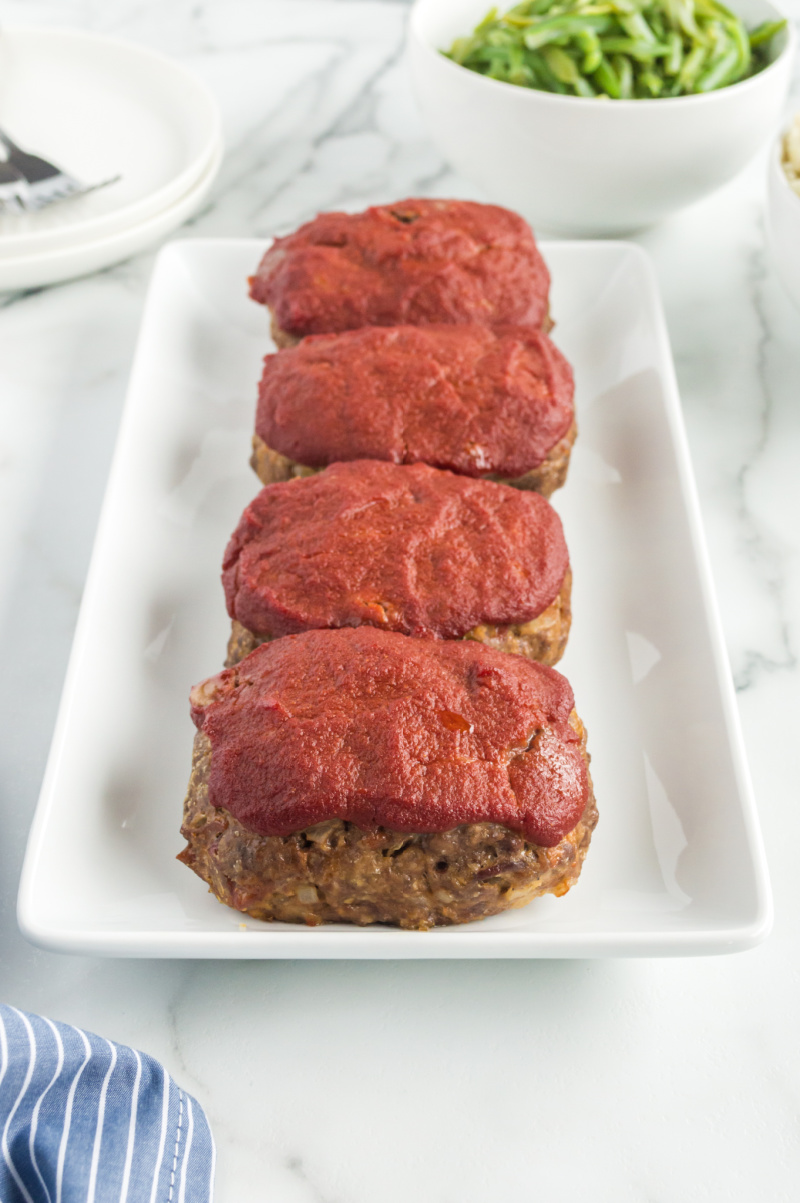 mini meatloaves on a serving platter
