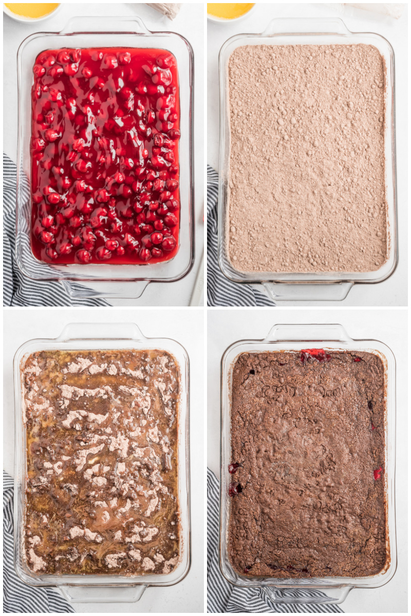 four photos showing process of making chocolate cherry dump cake