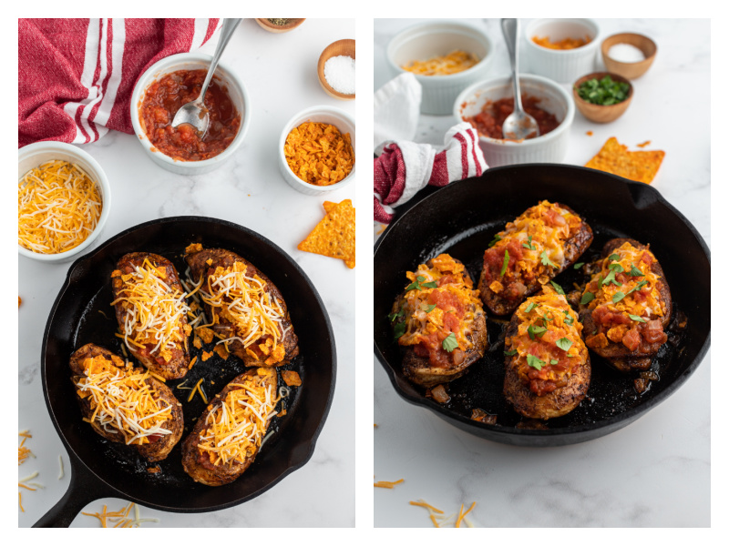two photos showing process of finishing up salsa chicken recipe with chicken cooking in cast iron skillet