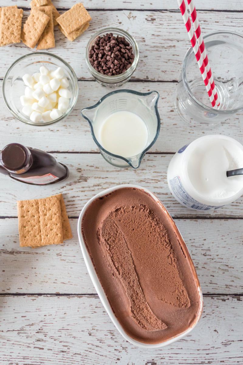 ingredients displayed for s'mores milkshakes