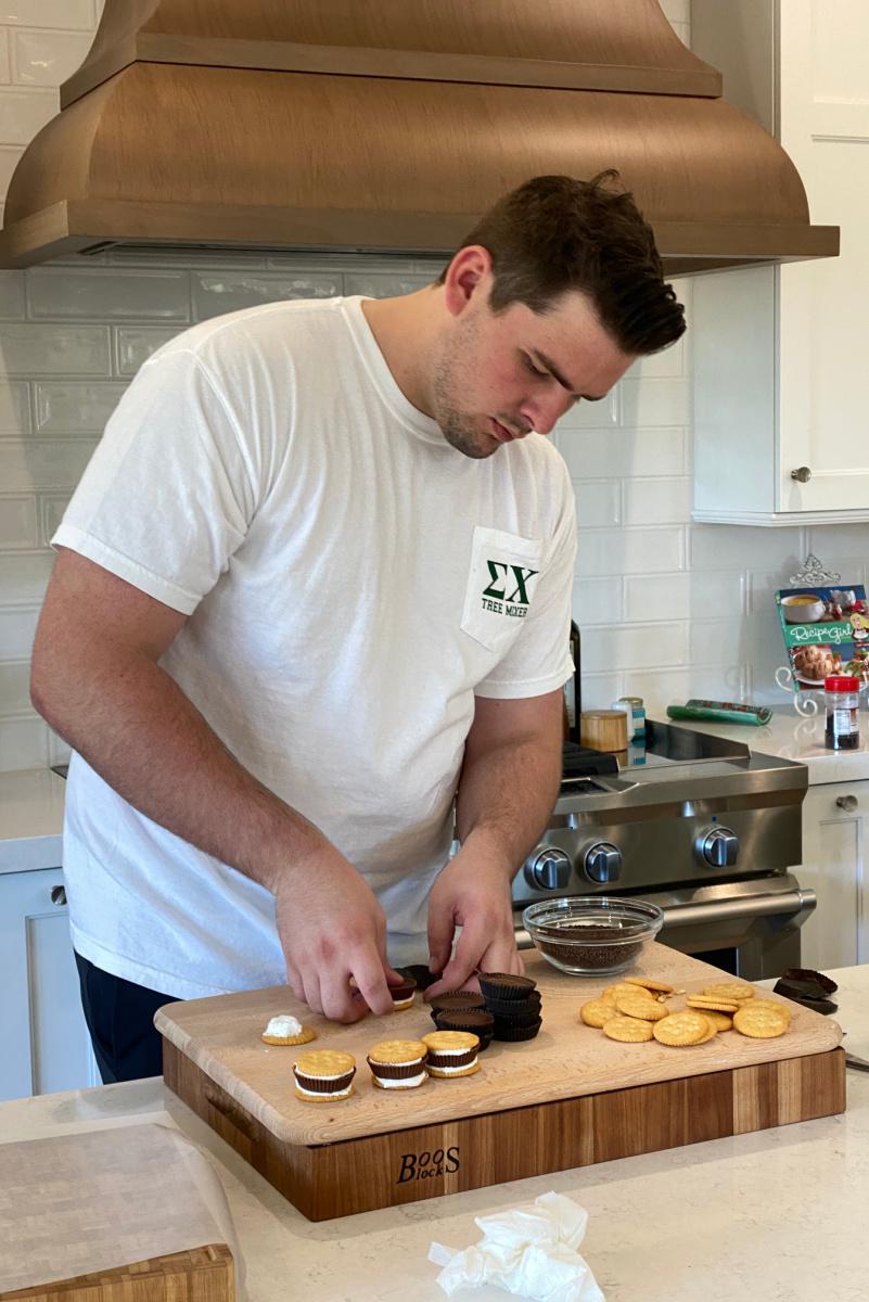 recipeboy making dessert in the kitchen
