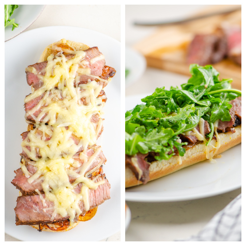 two photos showing assembly of french onion steak sandwich