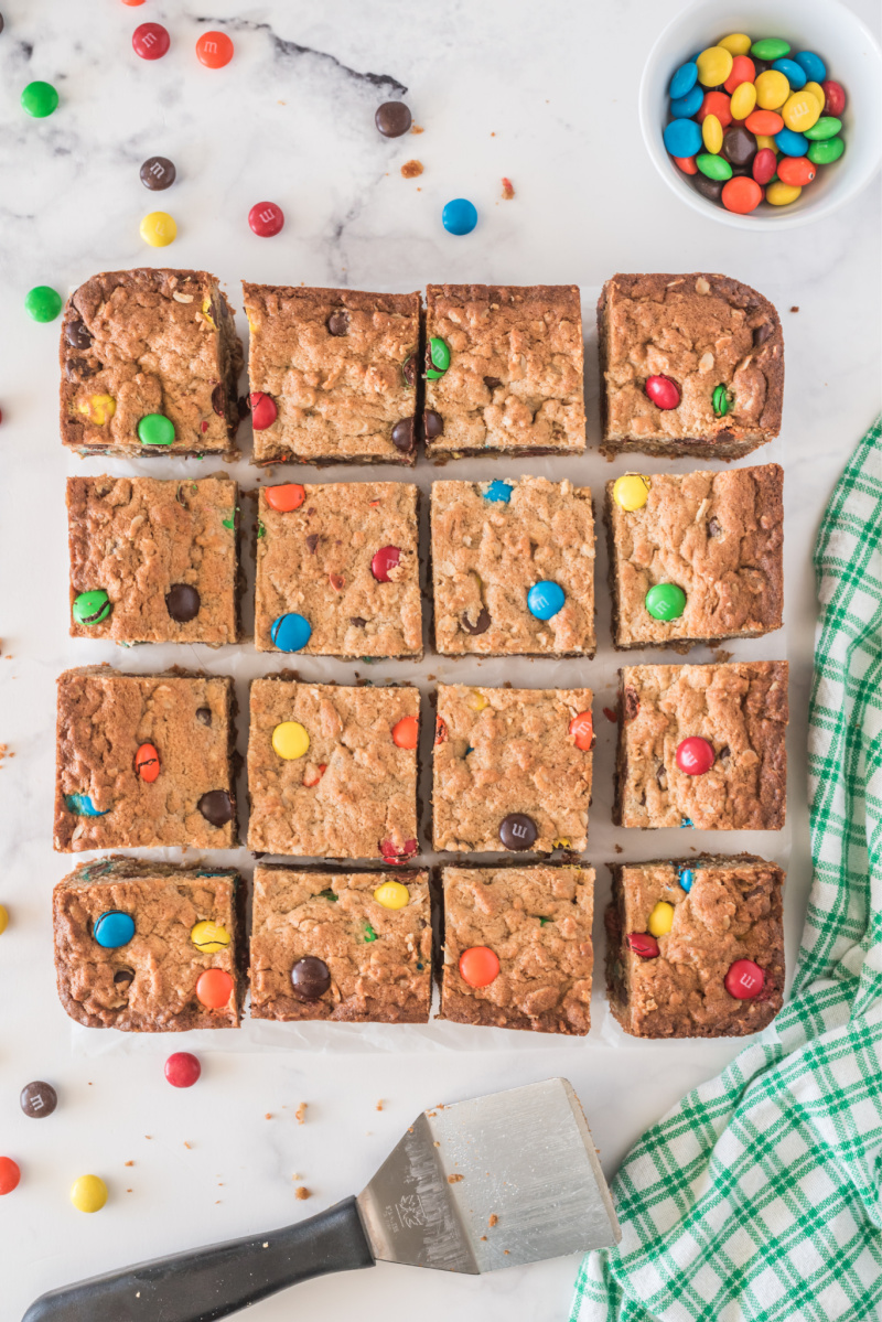 easy monster cookie bars cut into pieces