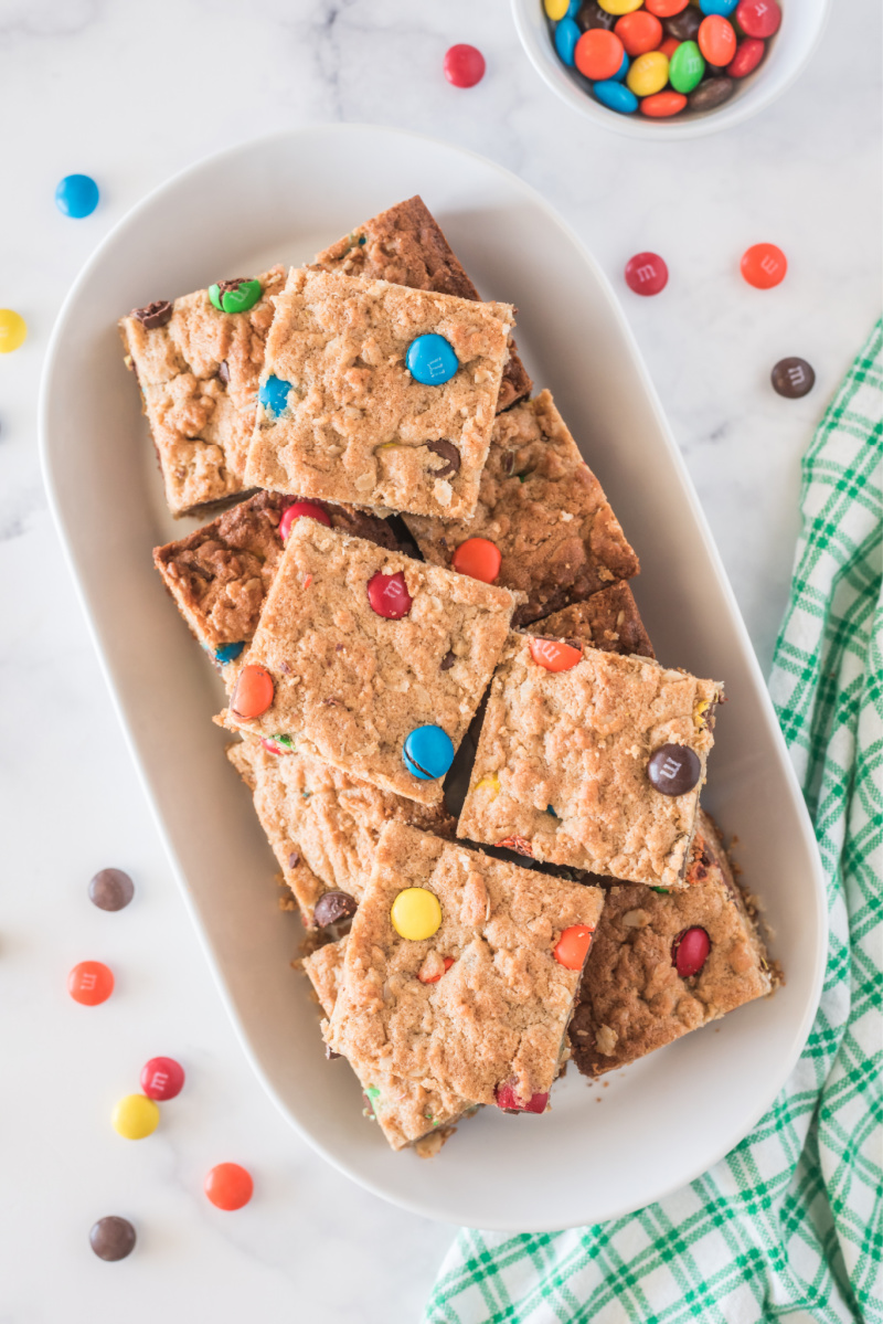 tray of easy monster cookie bars
