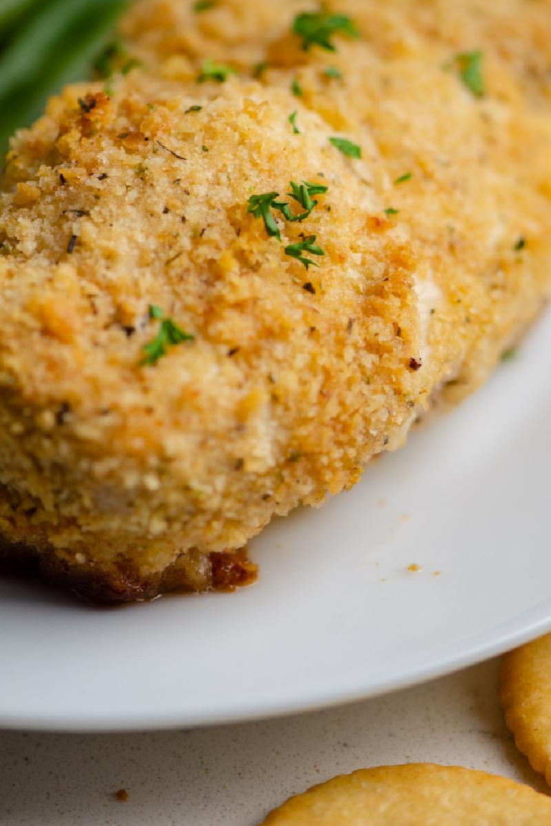 ritz cracker chicken on white plate