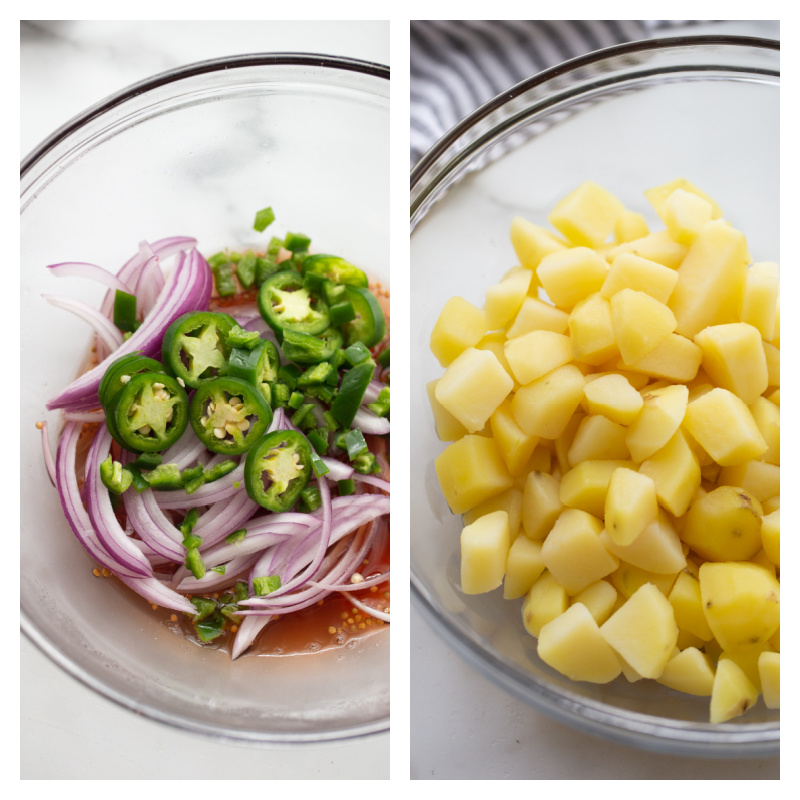 pickled spicy onions in one bowl and cubed potatoes in another bowl