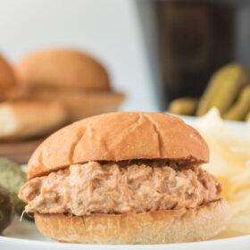cream cheese chicken sandwich on a plate