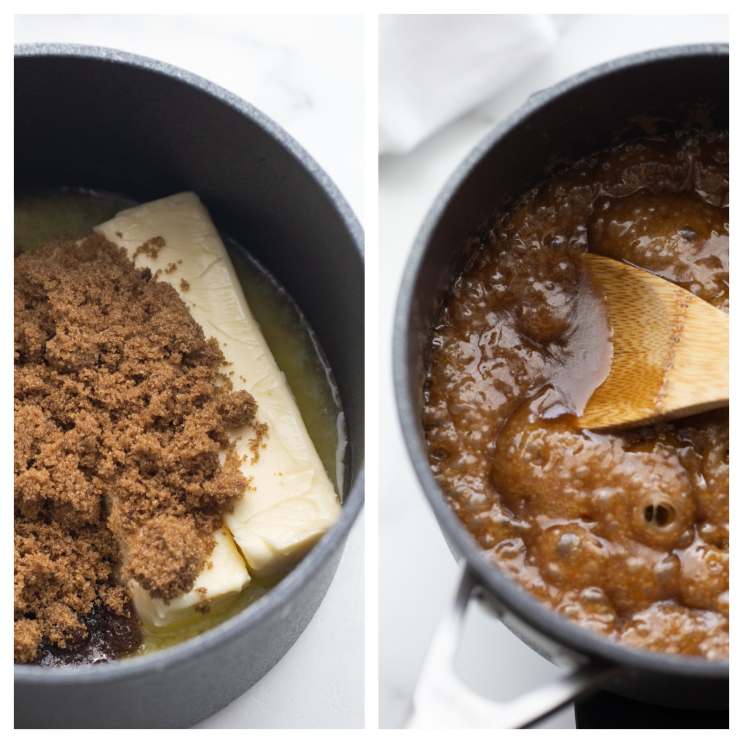 two photos showing how to make syrup to add to saltine toffee