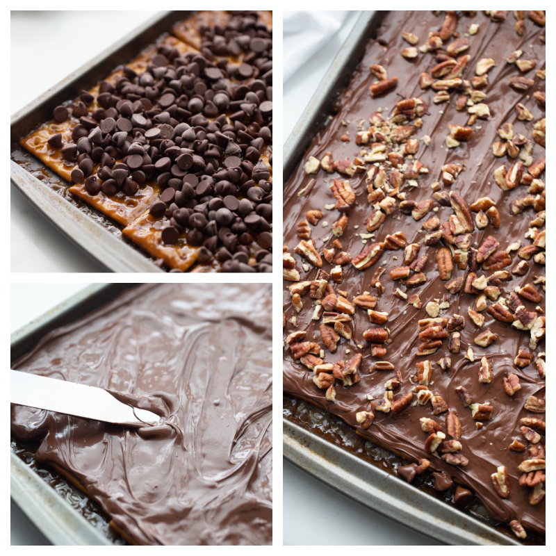 three photos showing how to make saltine toffee chocolate and pecans spread on saltines