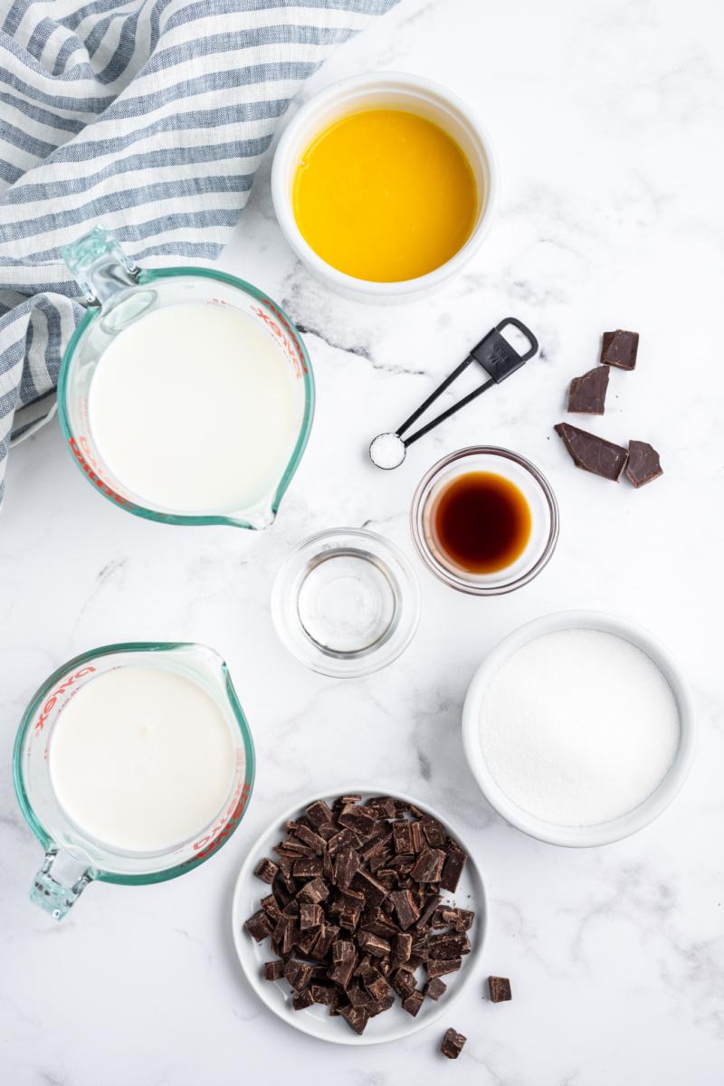 ingredients displayed for making chocolate chunk gelato