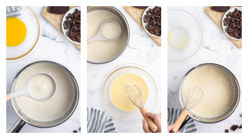 three photos showing how to make gelato custard