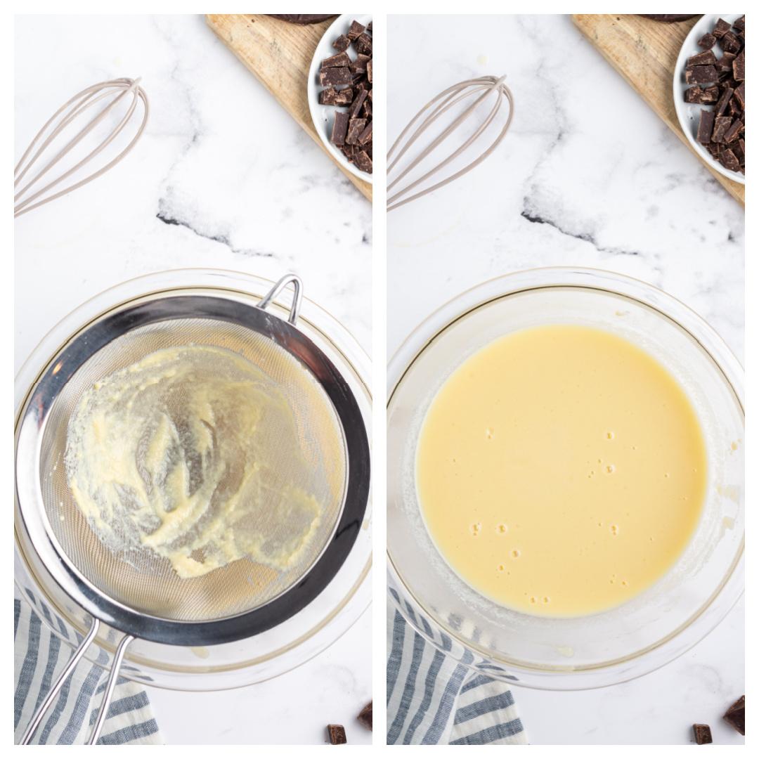 two photos showing straining gelato custard