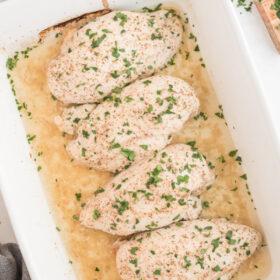 honey mustard chicken in white casserole dish