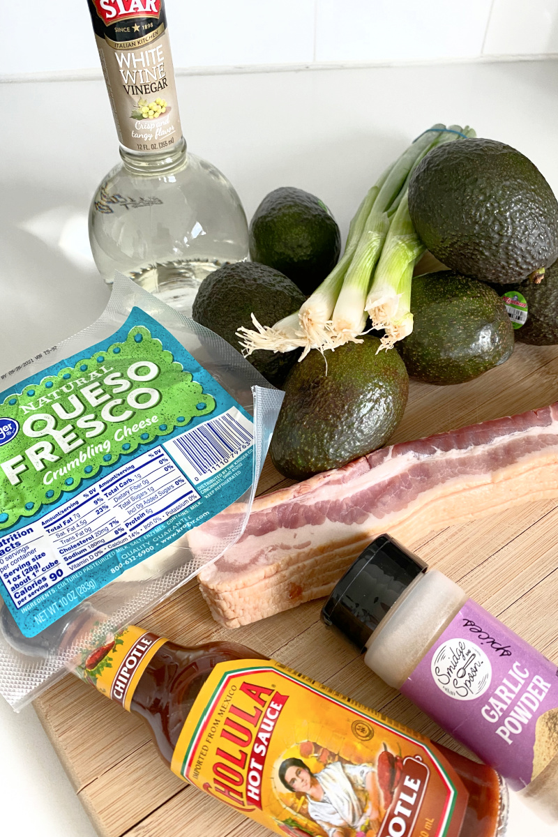 ingredients displayed for bacon and cotija cheese guacamole