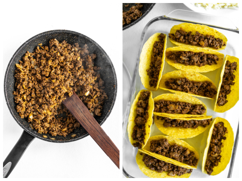 two photos showing skillet of taco meat and then taco meat stuffed taco shells