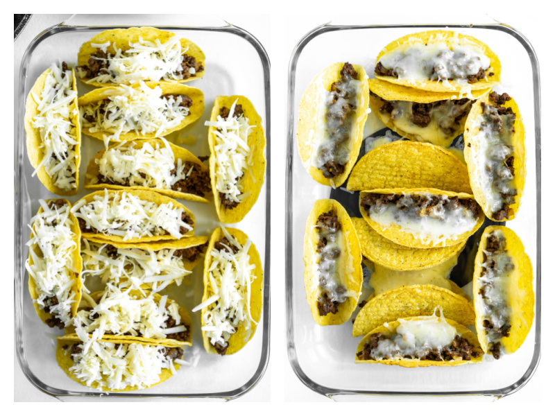 two photos showing cheese sprinkled on tacos and then melted