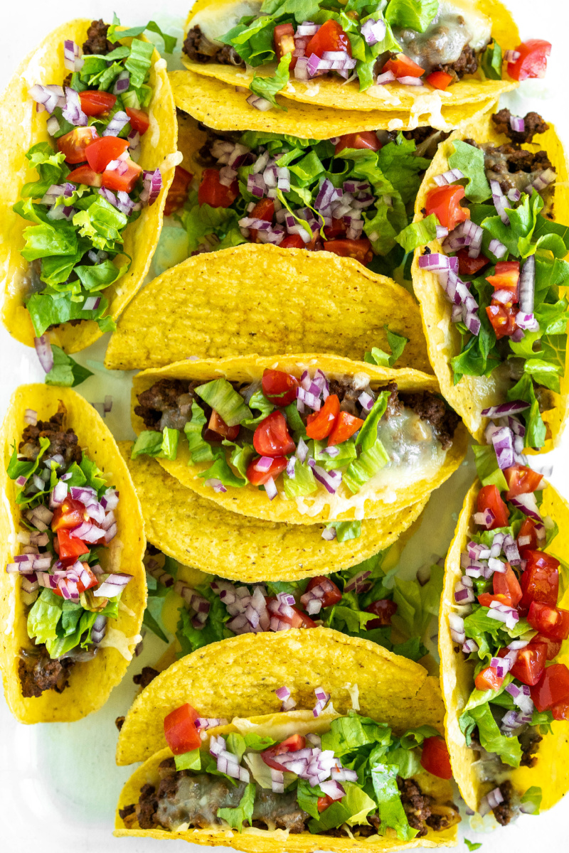 baked ground beef tacos with fixings