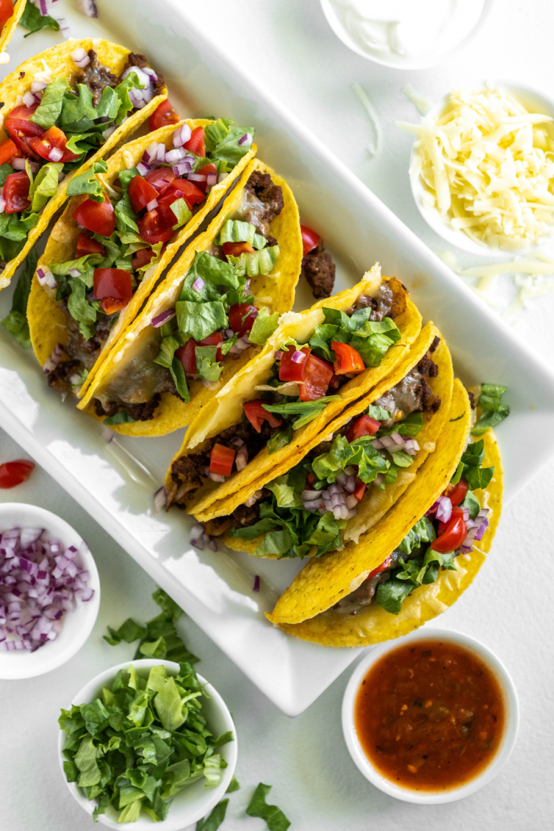 ground beef tacos on platter with fixings