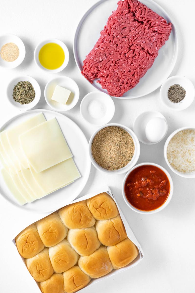 ingredients displayed for making meatball sliders