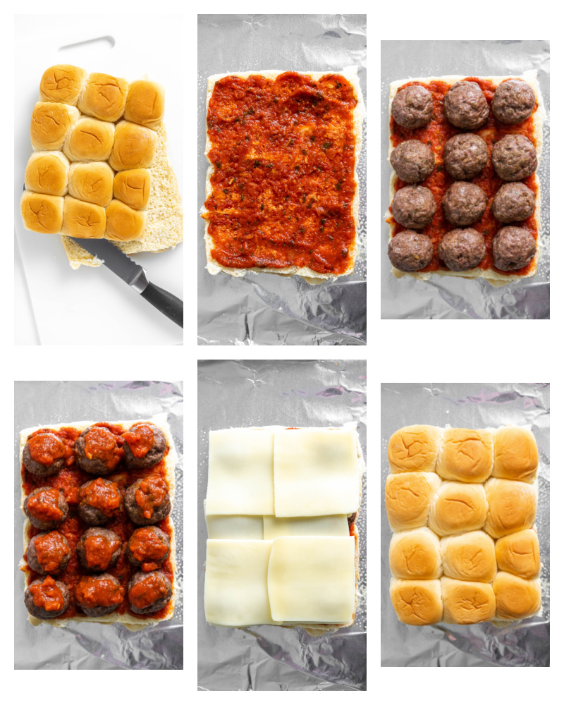 six photos showing assembly of meatball sliders