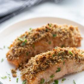 honey dijon and pecan baked salmon