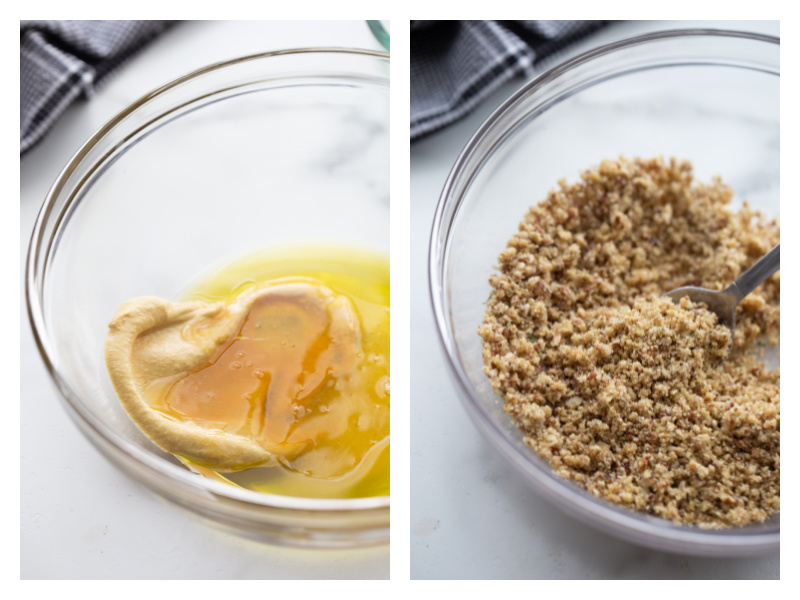honey dijon sauce in bowl and breadcrumbs in bowl