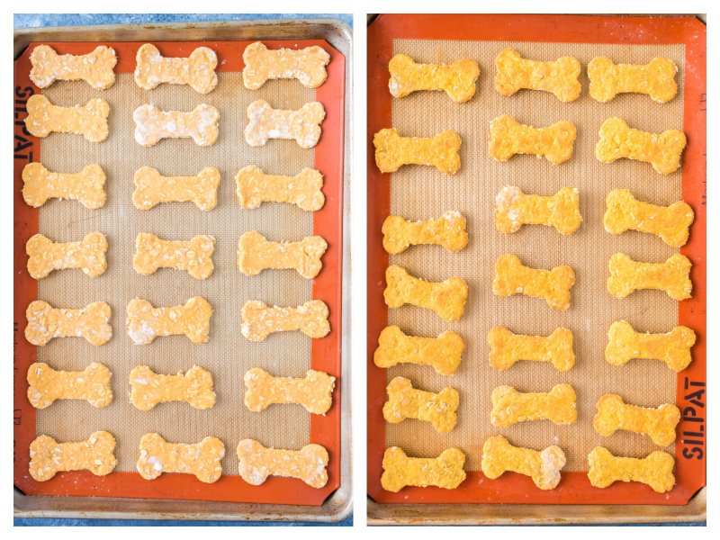 two photos showing dog biscuits on baking sheet and then baked biscuits